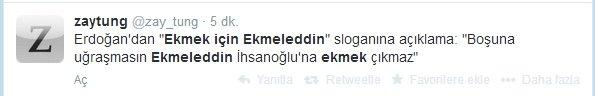 'Ekmek için Ekmeleddin' sloganı twitter'ı salladı 16