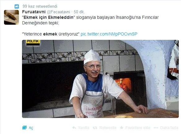 'Ekmek için Ekmeleddin' sloganı twitter'ı salladı 33
