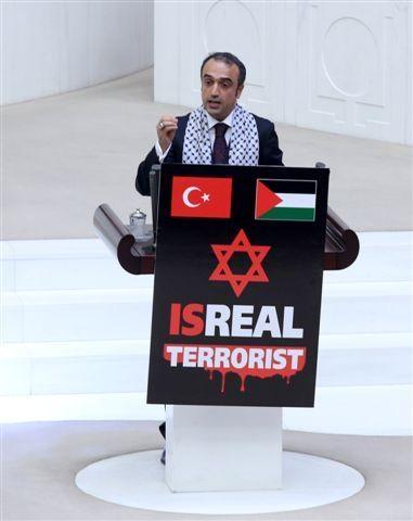 Meclis kürsüsünde İsrail protestosu 4