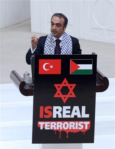 Meclis kürsüsünde İsrail protestosu 5