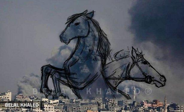 Gazze'ye düşen füzelerdeki gizli silüetler 21
