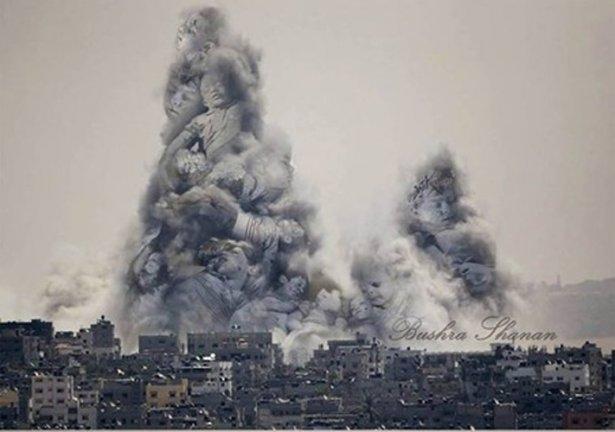 Gazze'ye düşen füzelerdeki gizli silüetler 23