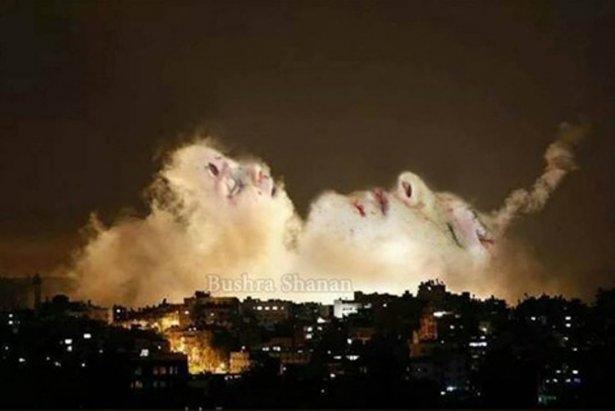 Gazze'ye düşen füzelerdeki gizli silüetler 25