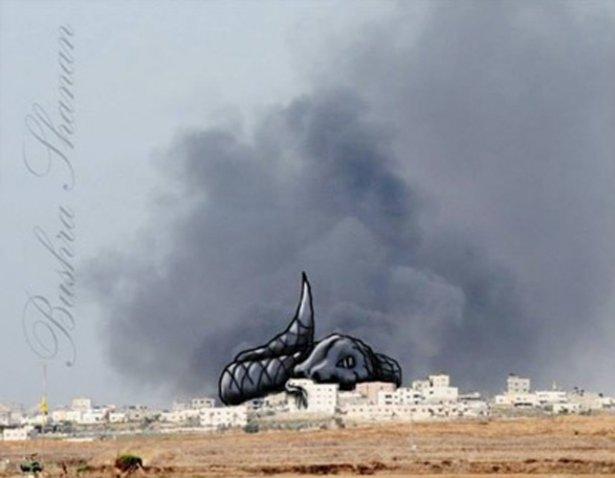 Gazze'ye düşen füzelerdeki gizli silüetler 31
