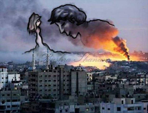 Gazze'ye düşen füzelerdeki gizli silüetler 35