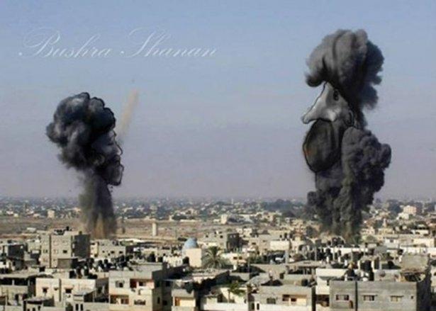 Gazze'ye düşen füzelerdeki gizli silüetler 41