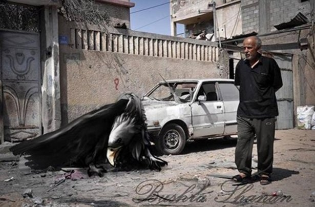 Gazze'ye düşen füzelerdeki gizli silüetler 43