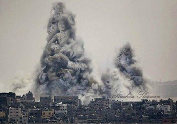 Gazze'ye düşen füzelerdeki gizli silüetler 47