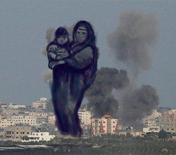 Gazze'ye düşen füzelerdeki gizli silüetler 9