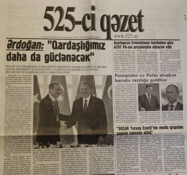 Erdoğan'ın ziyareti Azerbaycan basınında 6