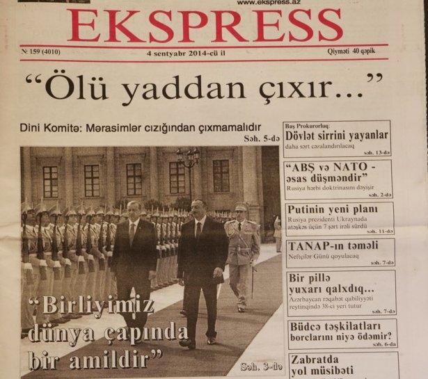 Erdoğan'ın ziyareti Azerbaycan basınında 8