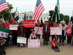 Halep'teki saldırılar Beyaz Saray önünde protesto edildi