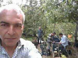 Metin Bilgili kiraz bahçesinde