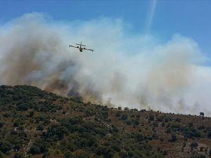 Bodrum'da makilik alanda başlayan yangına müdahale ediliyor