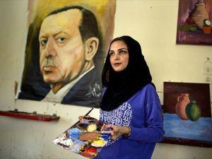 Gazze'li Ressam Destek İçin Erdoğan'ın Portresini Resmetti