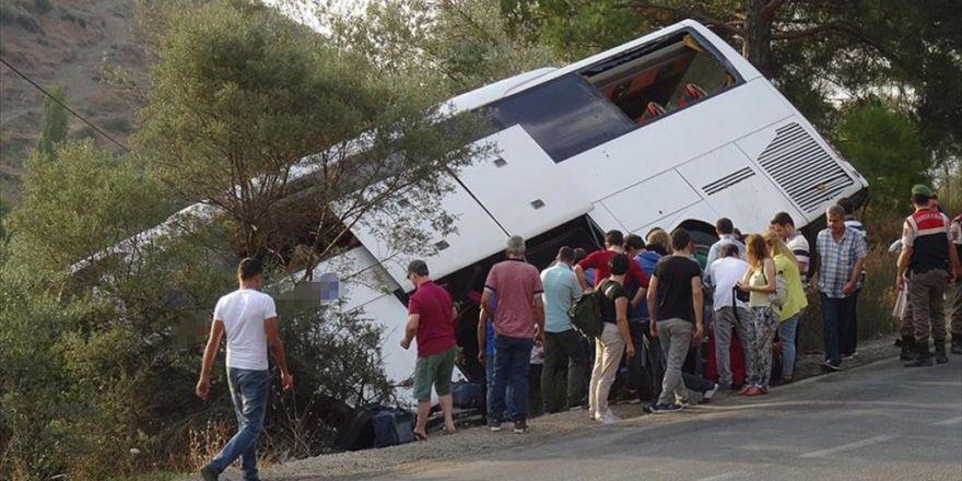 Yolcu Otobüsünü Devrilmekten Zeytin Ağacı Kurtardı