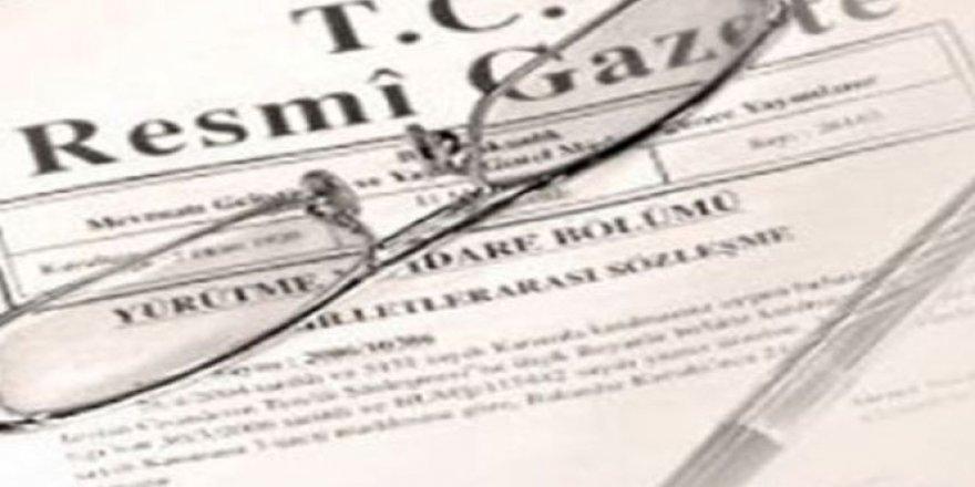 O Karar Resmi Gazete'de yayımlandı