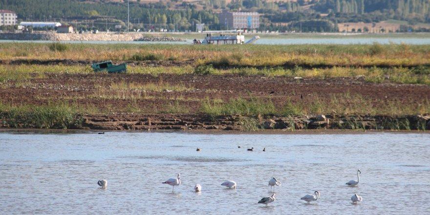 Beyşehir Gölü kıyıları kuraklık nedeniyle çekildi
