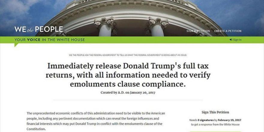 Trump'ın Vergi İadeleriyle İlgili Dilekçeye Bir Günde 130 Bin İmza