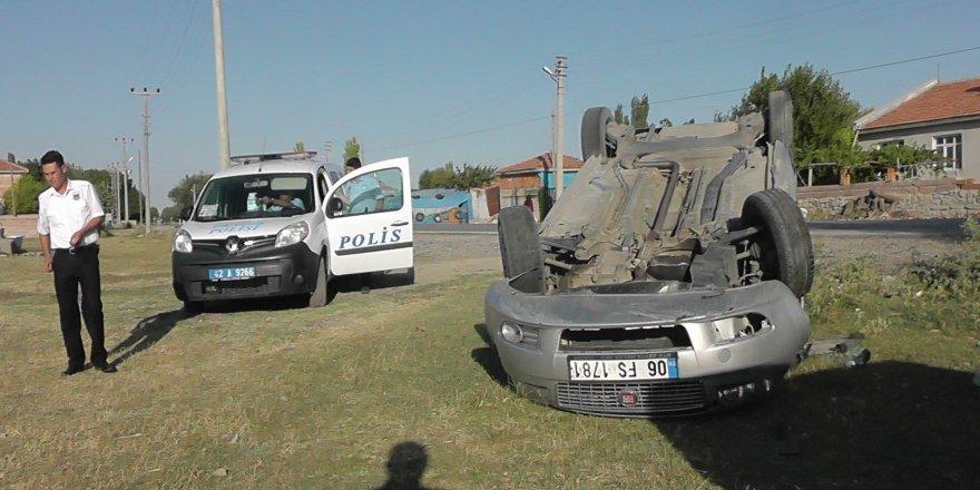Kulu'da otomobil takla attı: 2 yaralı