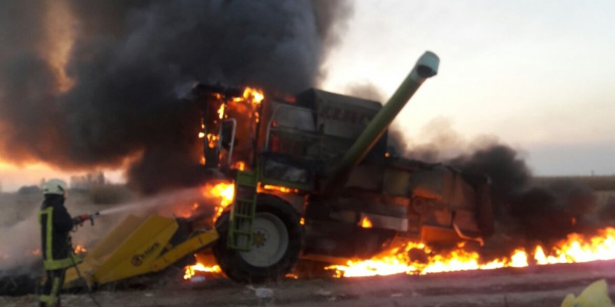 Konya'da Mısır Hasadı Yapan Biçerdöverde Yangın