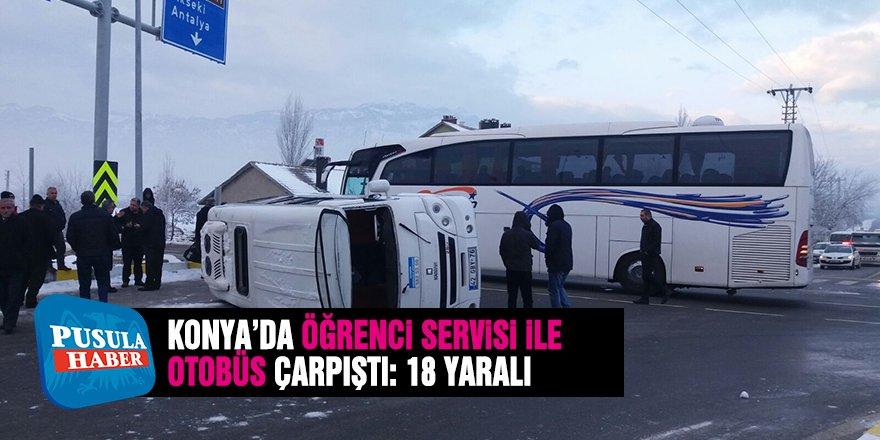 Konya'da Öğrenci Servisi İle Yolcu Otobüsü Çarpıştı: 18 Yaralı
