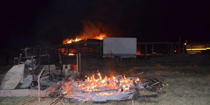 Yangında ev ve ağıl kullanılamaz hale geldi