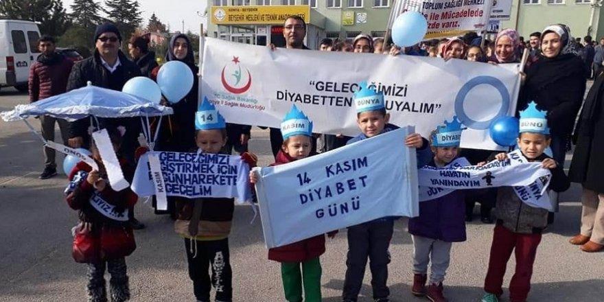Beyşehir'de Dünya Diyabet Günü farkındalık yürüyüşü