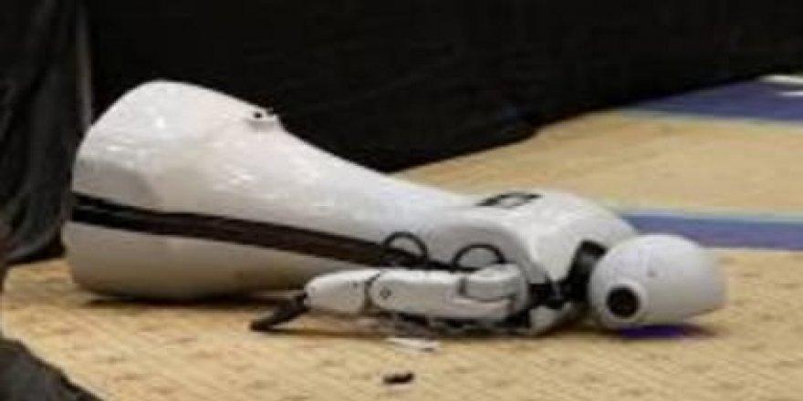 Antalya'da sahneye çıkan Konyalı robot Mini Ada dans etmek isterken sahneden düştü.