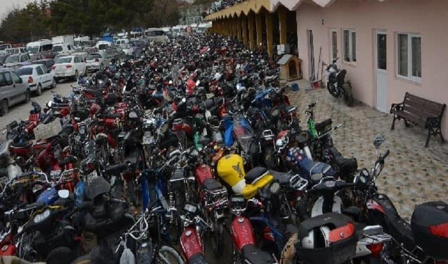 Konya'da yakalanan yüzlerce motosiklet hurda işletmesine gönderildi