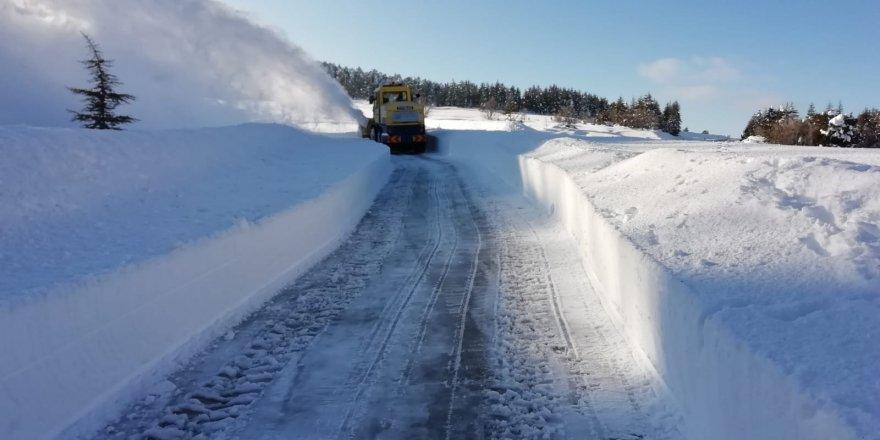 Gölcük Yaylası'nda karın kapattığı yollar açıldı