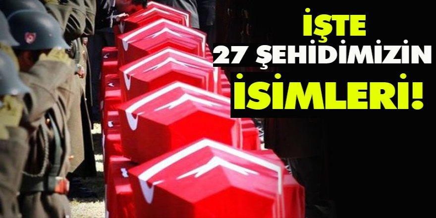 İŞTE 27 ŞEHİDİMİZİN İSİMLERİ!