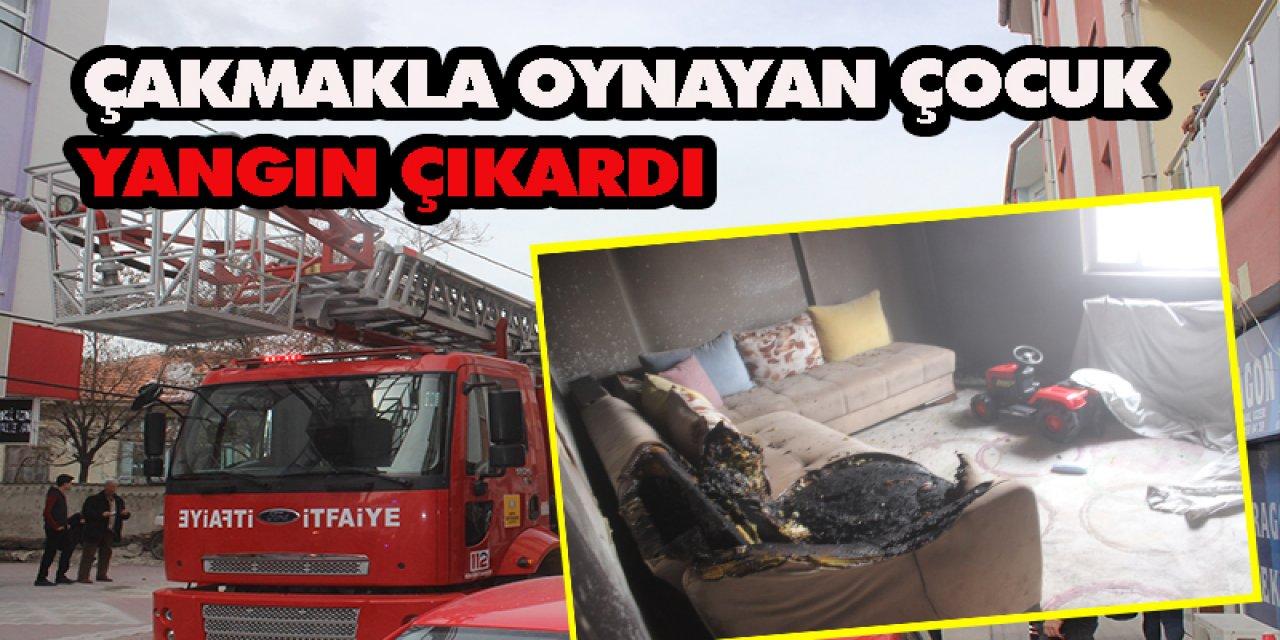 Konya'da Evde Çakmakla Oynayan Çocuk Yangına Neden Oldu
