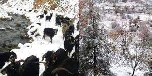 Bozkır'a kar yağdı