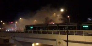Konya'da korkutan tramvay yangını