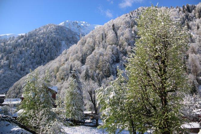 Ayder Yaylası'na kar yağdı