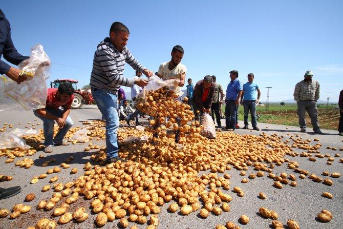 Patates üreticilerinden yol kapatma eylemi