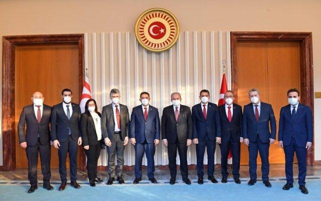 TBMM Başkanı Mustafa Şentop, KKTC Başbakanı Ersan Saner ile görüştü
