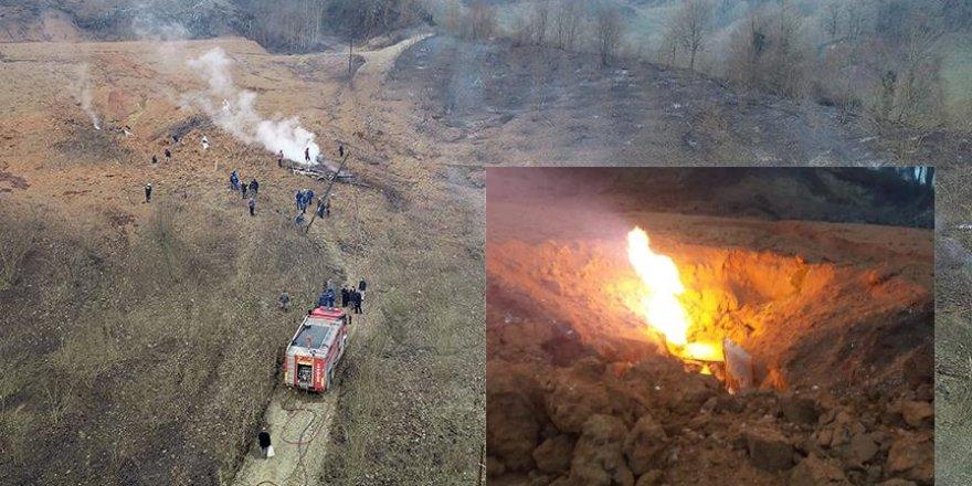 Doğal gaz dağıtım hattında yangın