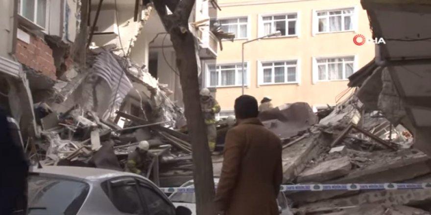 İstnabul Bahçelievler'de 7 Katlı Bina Çöktü, Olay Yerinden İlk Götüntüler